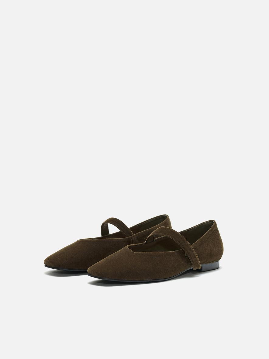 Rowie Mary jane shoes Velvet Khaki