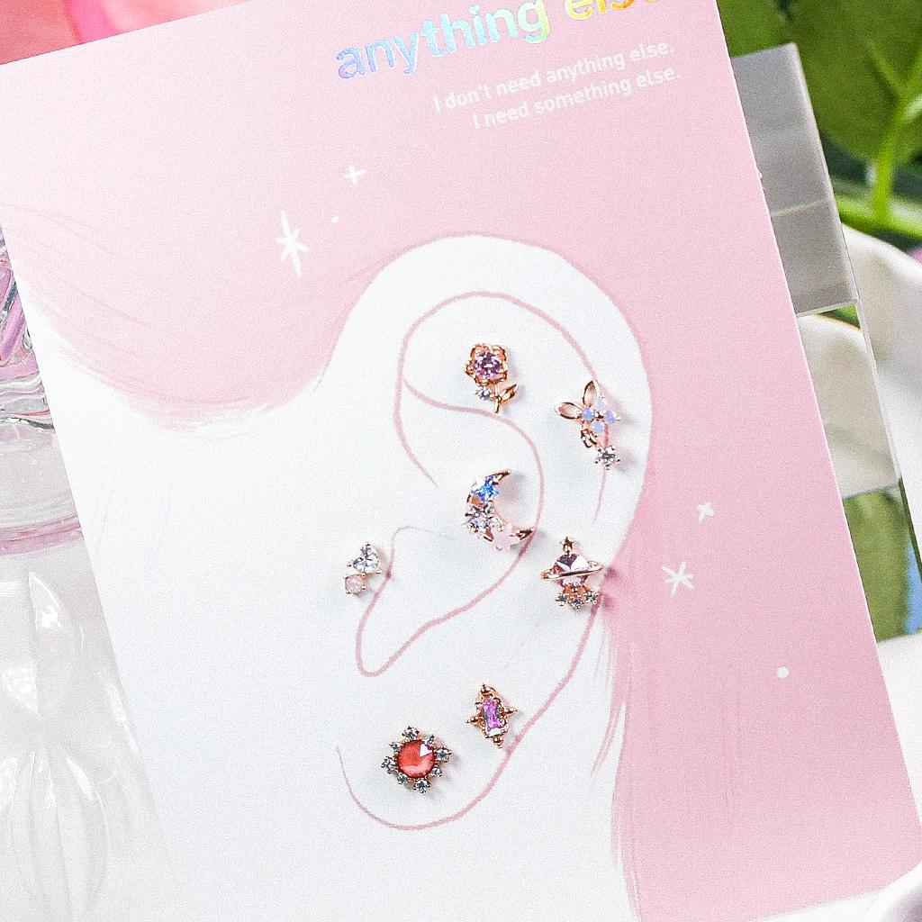 Pink Aurora Piercing/Earring SET
