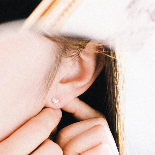 [Silver 925] Plump Heart Earring