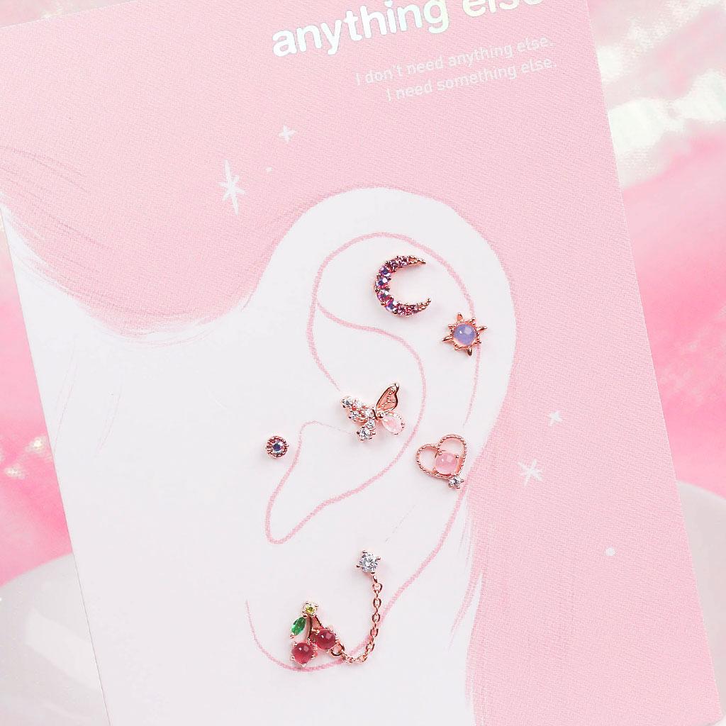 Blooming Pink Piercing/Earring SET