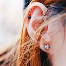 [Silver 925] Initial Heart Earring