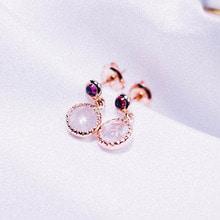 [Silver 925] Garnet + Rose Quartz Earring