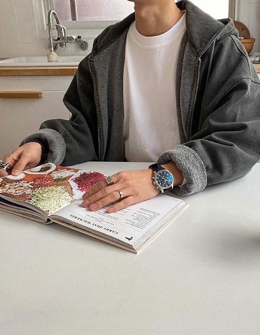 애즈클로핏 피그먼트 기모후드집업 (2color)