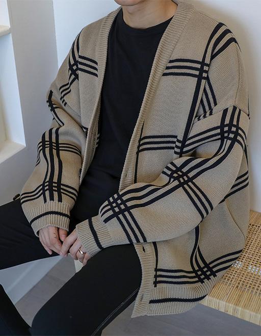 빅체크 가디건 (3color)