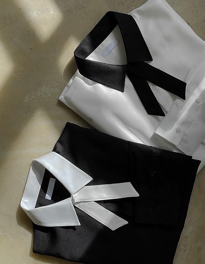 모네 젠틀 배색 타이셔츠 (2color)