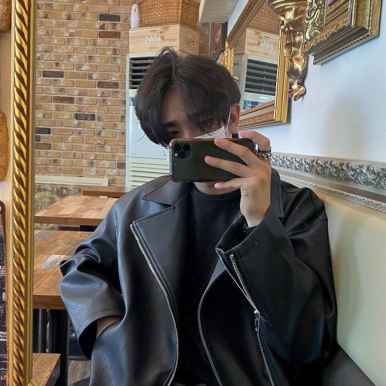 드블 루즈핏 베이직카라 라이더자켓 (420)
