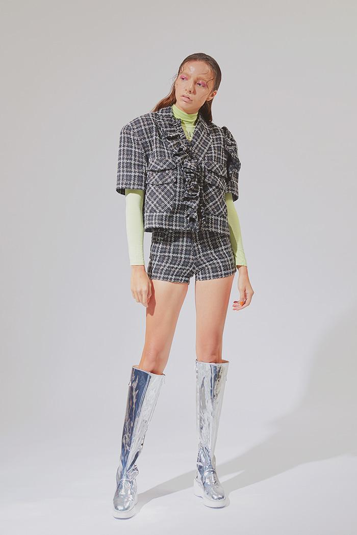 Crop Tweed Frill jacket_black크롭 트위드 재킷_블랙