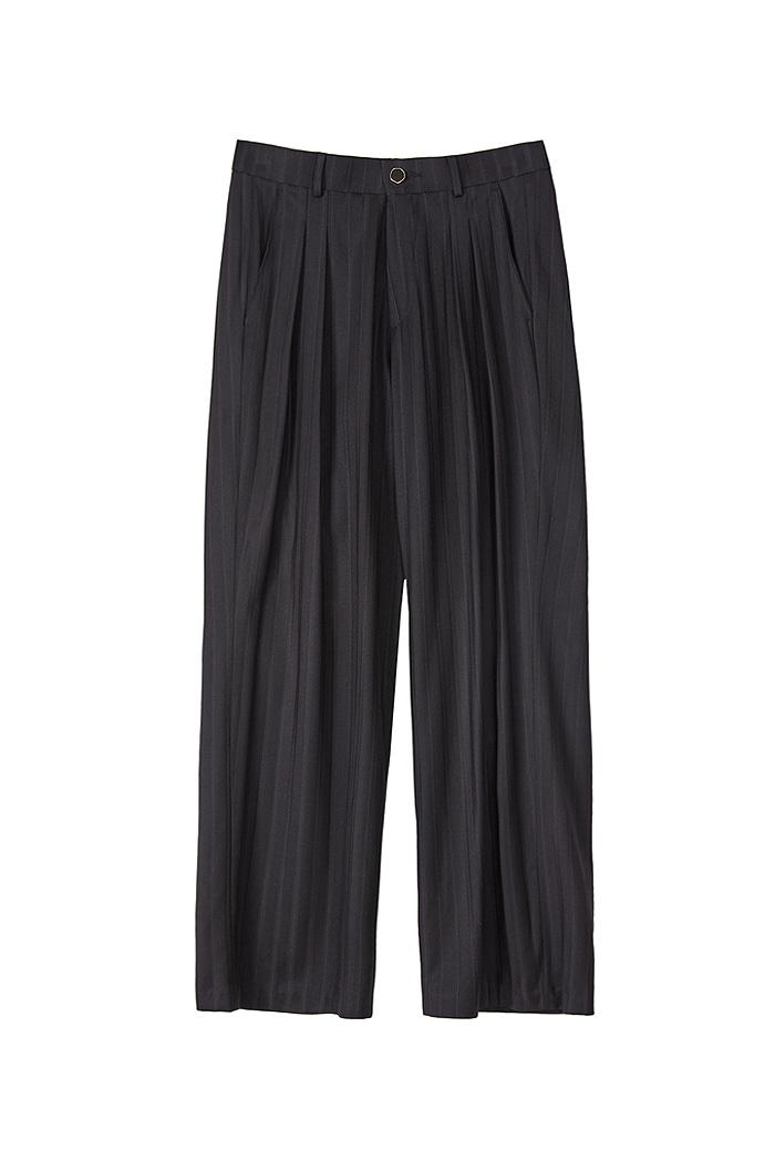 Stripe Long wide pants_Navy