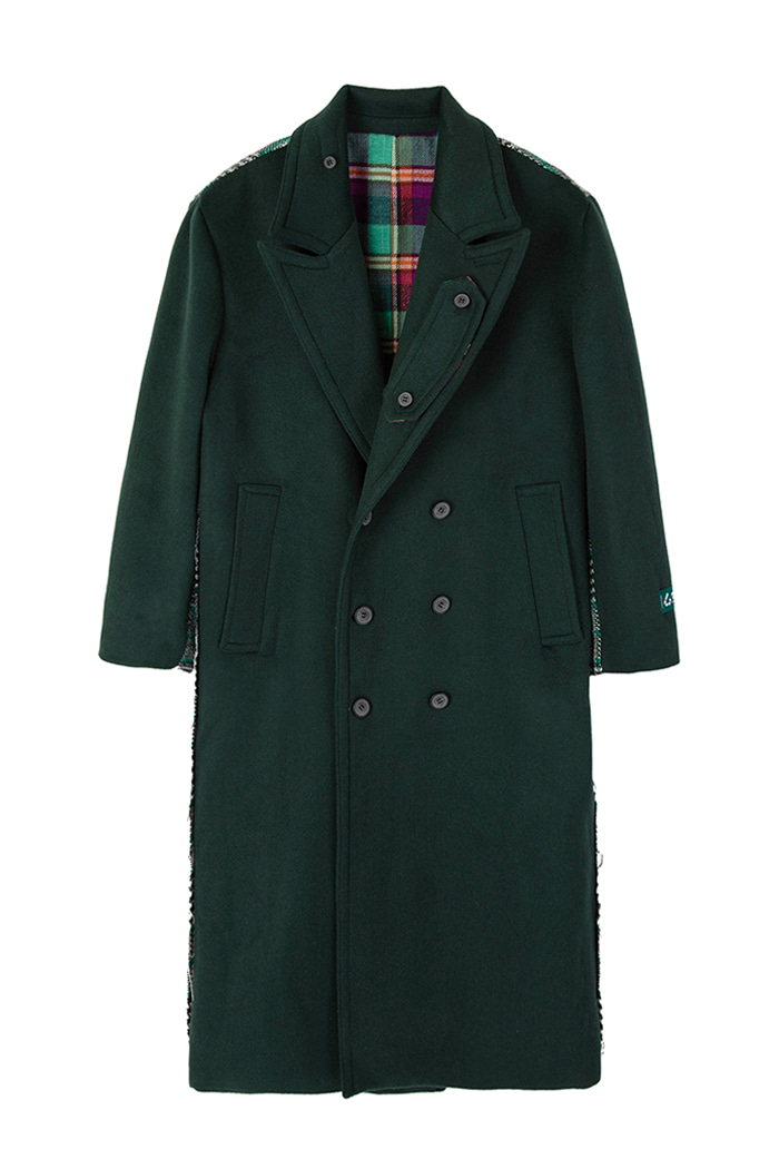 [Upcycling Project]REVERSIBLE OVER-FIT DOUBLE WOOL COAT_GREEN리버시블 오버핏 더블 울 코트_그린