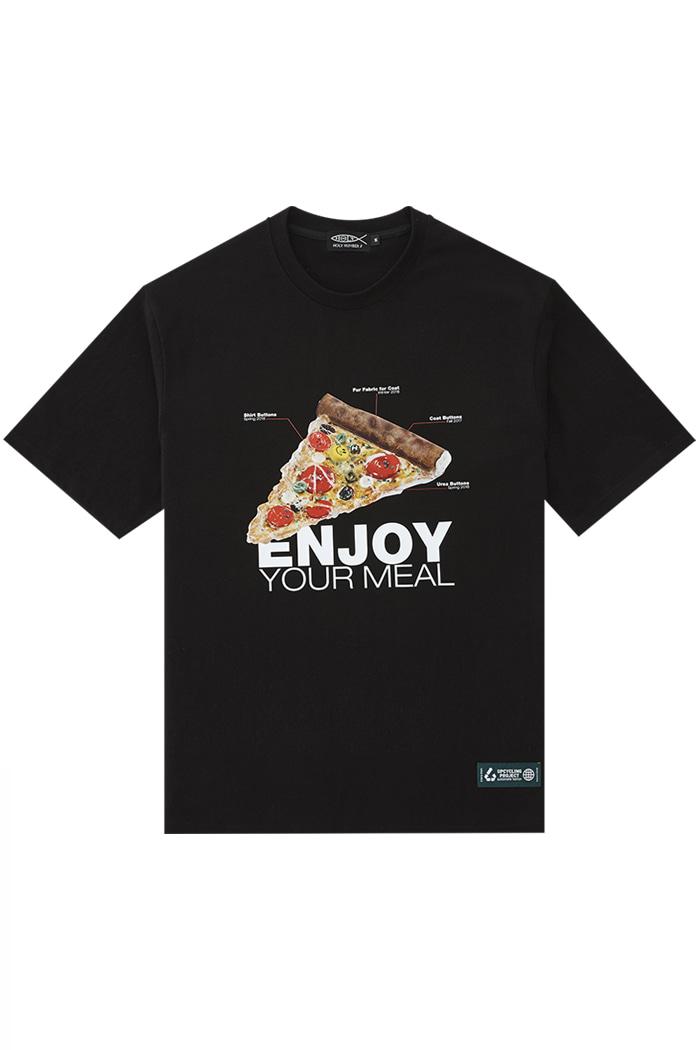 """ENJOY YOUR MEAL CAMPAIGN 1/2 T-SHIRT PIZZA _BLACK""""맛있게 드세요"""" 피자 캠페인 티셔츠_블랙"""