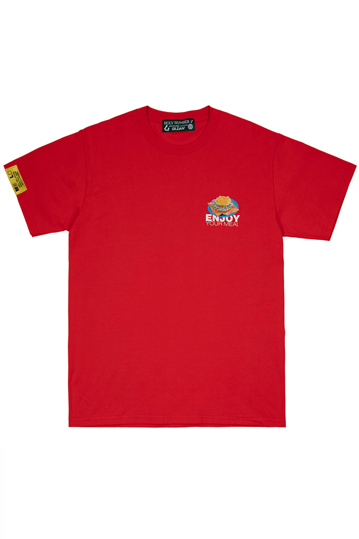 [ENJOY YOUR MEAL] HAMBURGER 1/2 T-SHIRT_RED[맛있게 드세요] 햄버거 반팔 티셔츠_레드