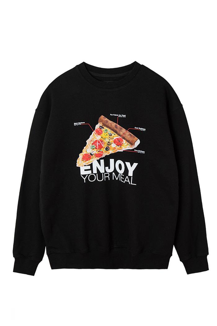 "ENJOY YOUR MEAL CAMPAIGN SWEATSHIRT PIZZA_BLACK""맛있게 드세요"" 맨투맨 피자_블랙"