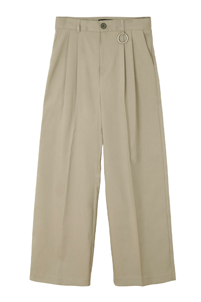 [RECYCLE POLYESTER] PINTUCK RING WIDE SLACKS_BEIGE