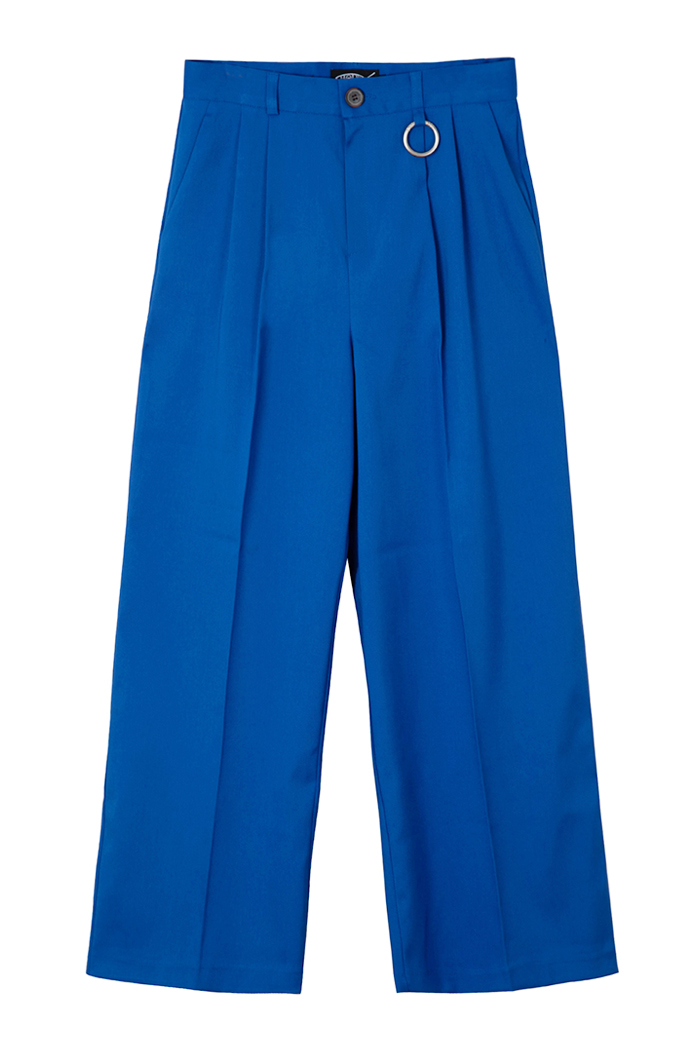 [RECYCLE POLYESTER] PINTUCK RING WIDE SLACKS_BLUE
