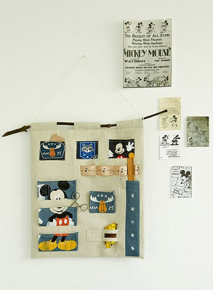 대폭/DTP린넨/컷트지]디즈니)미키 캠핑컷(159582)