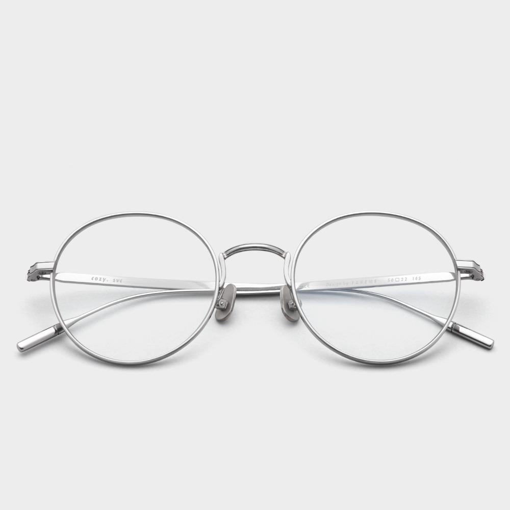 페이크미 안경 코지 SVC 실버 메탈 티타늄 블루라이트차단안경
