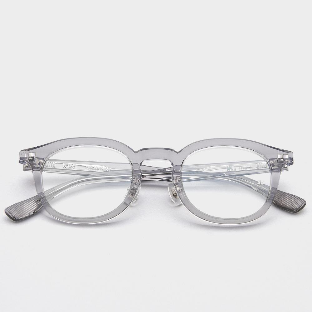 퍼블릭비컨 안경 넘버 25 C4 남자 여자 사각 그레이 투명 뿔테 블루라이트차단안경