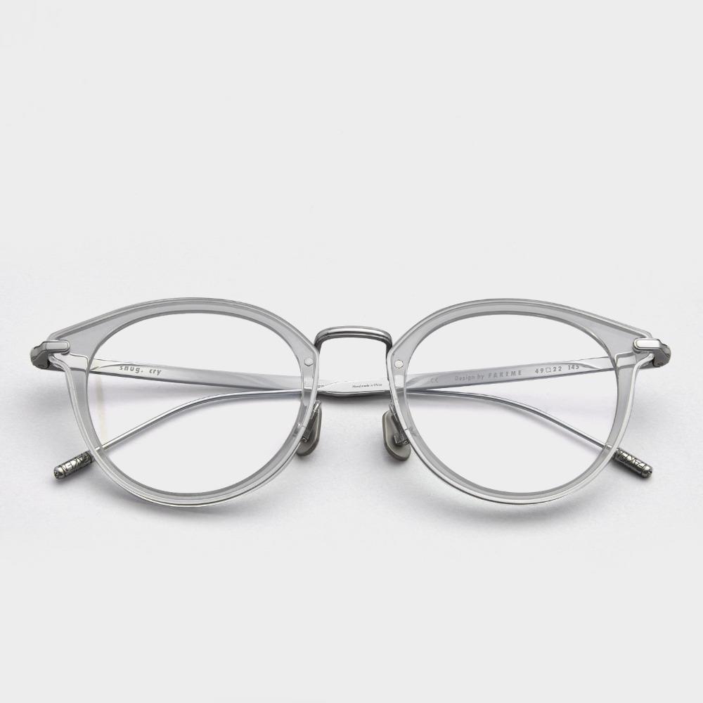 페이크미 안경테 스너그 CRY 블루라이트차단 가벼운 베타 티타늄 투명 실버 안경