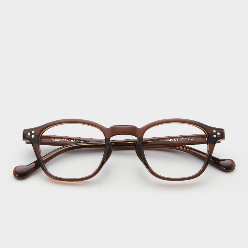 애쉬크로프트 안경 피터스버그 3 다크 브라운 스모크 46 Size 남자 여자 사각 빈티지 뿔테 안경테