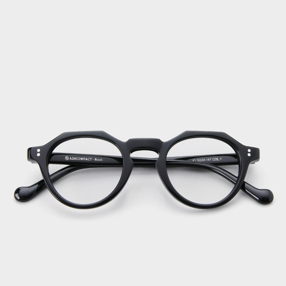 애쉬컴팩트 안경 루트 COL 01 빈티지 크라운 판토 블랙 남자 뿔테