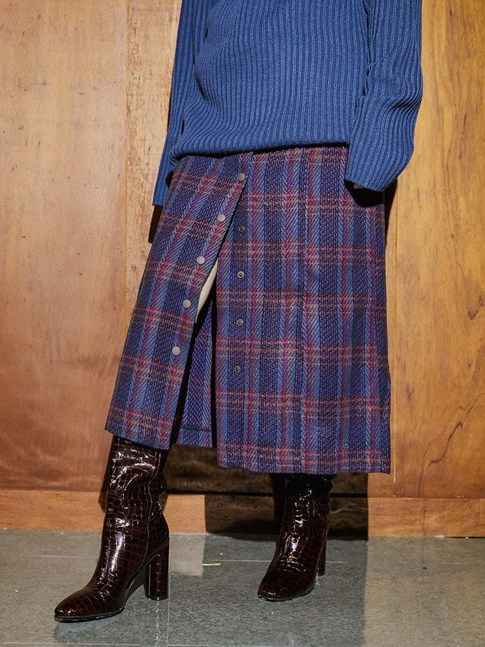 wool check button long skirt (2 color) - woman