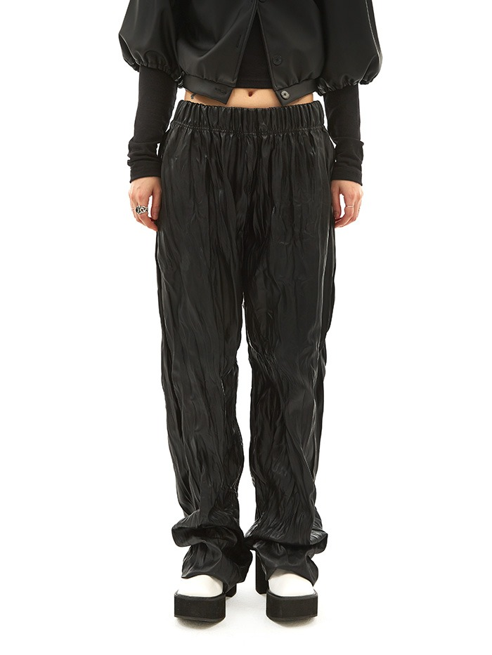 wrinkle leather pants (2 color)