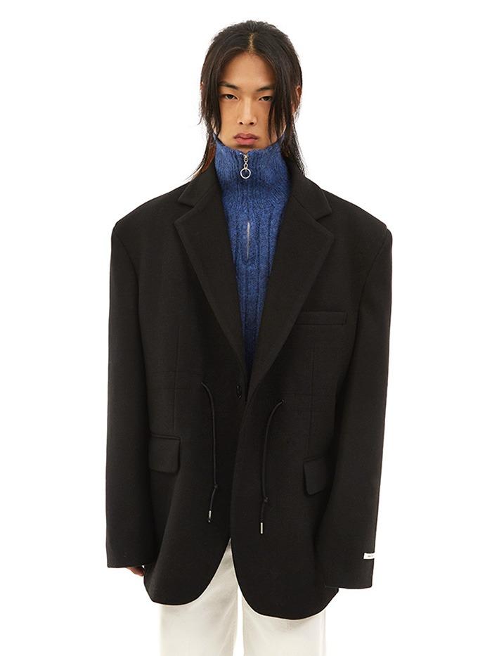 over-fit string wool jacket (3 color)