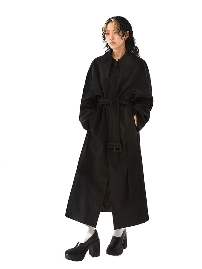 bulky collar belted coat (2 color)