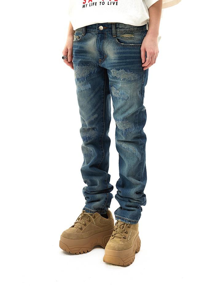 damage washing straight jeans