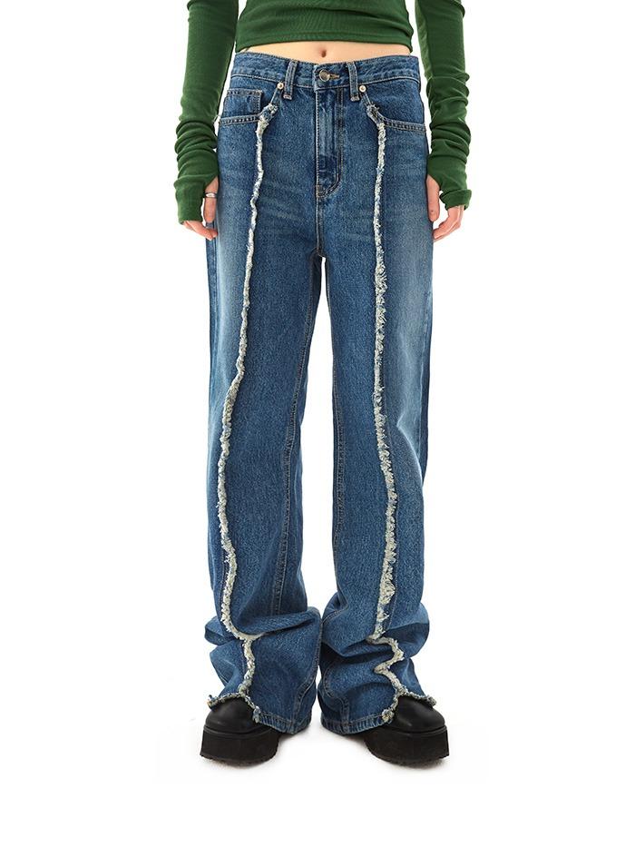 grunge damage denim pants