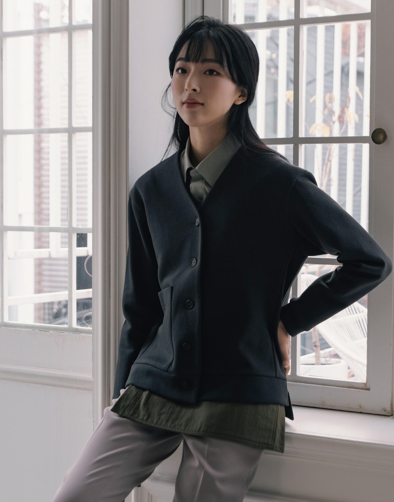 side slit cotton oxford warm cardigan #AC1975 darkgrey