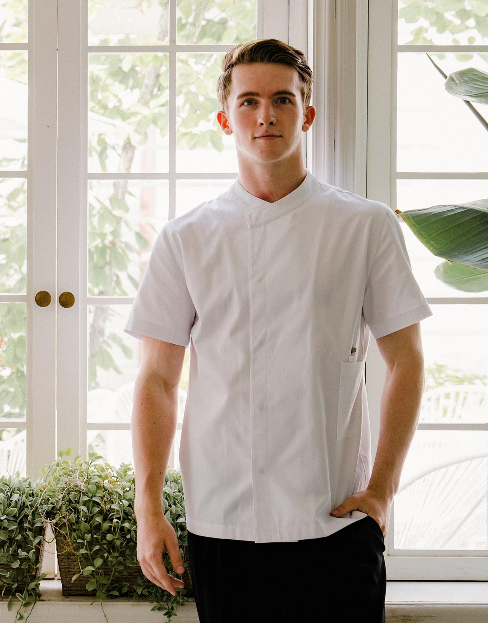 signature back side cooling short sleeve chef coat #AJ1979 white