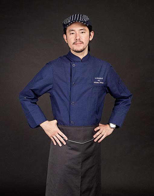 british organic chef coat deep blue #AJ1645