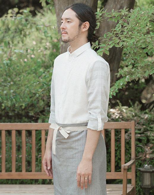 natural linen striped apron light grey #AA1696