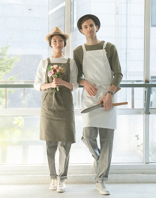 HAKATA cotton apron mocha grey #AA1761
