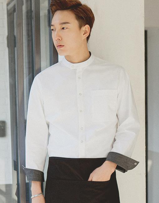 Bio washing single chef coat - white #AJ1742