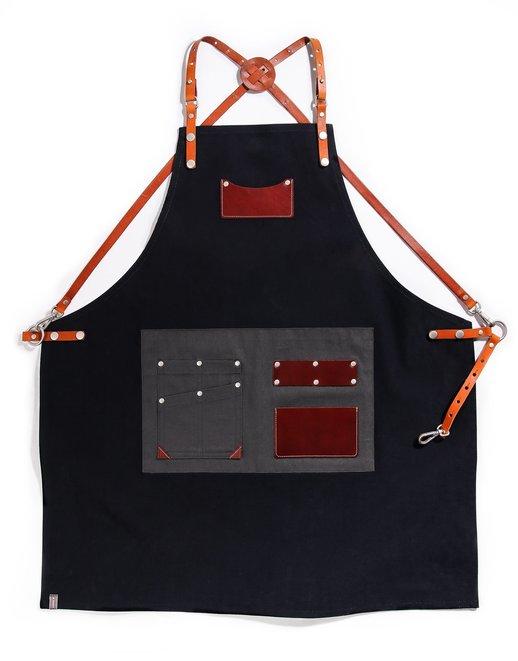 customizing canvas leather apron navy #AA1807