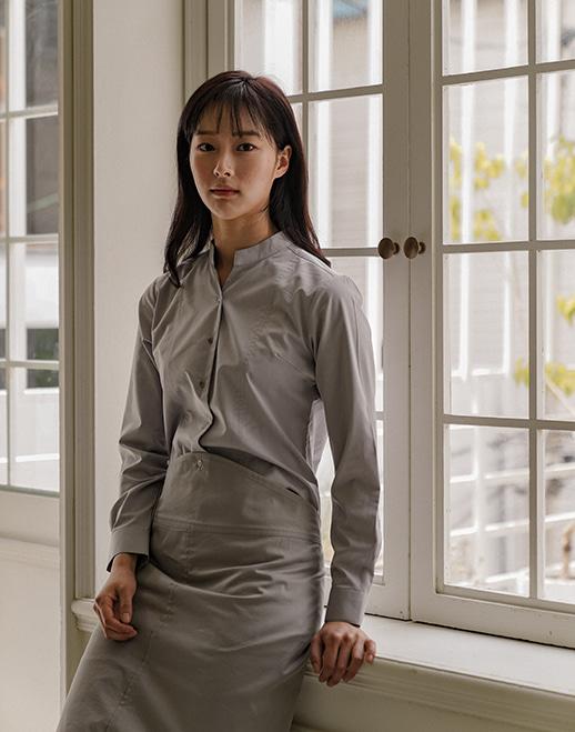 notch neck wrinkle-free stretch shirts #AS1925 grey