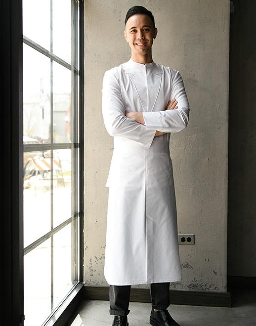 dangled back pocket waist apron #AA1956 white