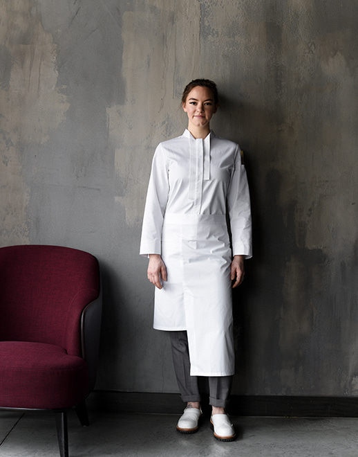 different length welt pocket waist apron #AA1933 white