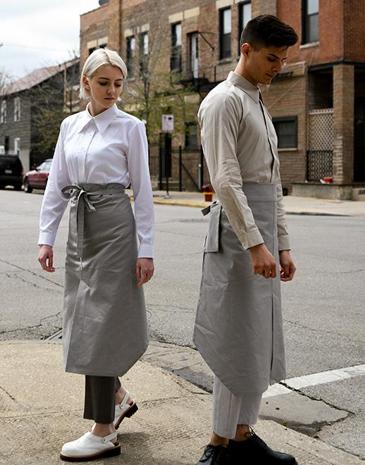 댕글드 백 포켓 허리 에이프런 #AA1956 그레이