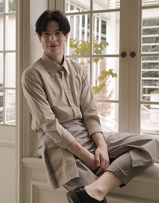 long collar cotton stretch shirts #AS1934 beige