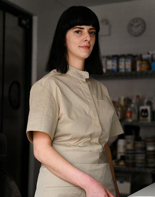 drop shoulder grandad 1/2 women chef coat #AJ1933