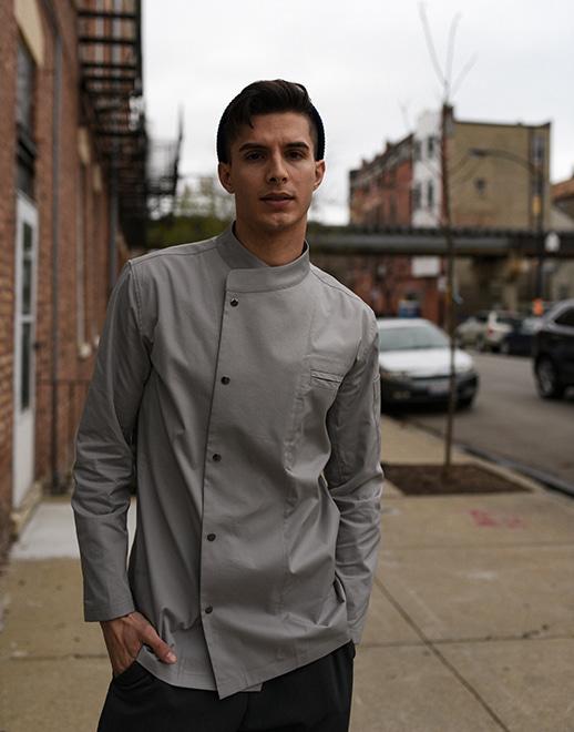 Snap point stretch chef coat #AJ1940 grey