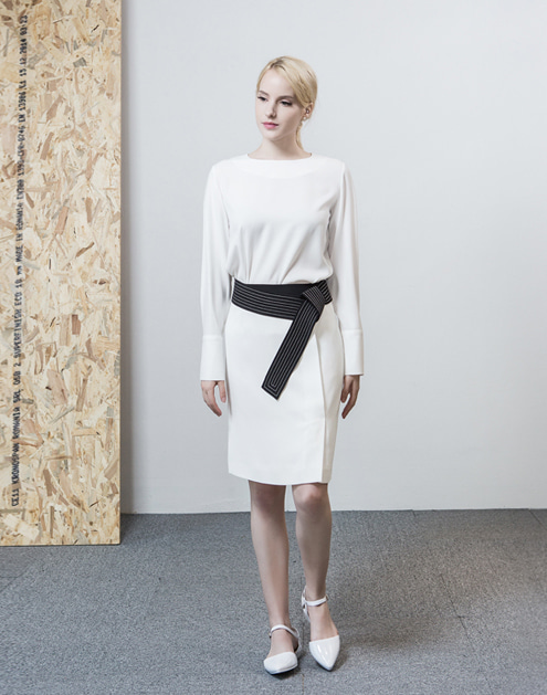 [dumont] White Stitch Belt Skirt#DMSK09