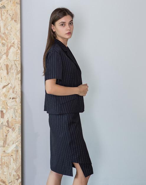 [dumont] Pin stripe Lap-Skirt#DMSK01