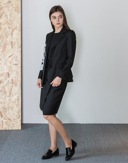 [dumont] Slit Lap-Cool Wool Skirt#DMSK04
