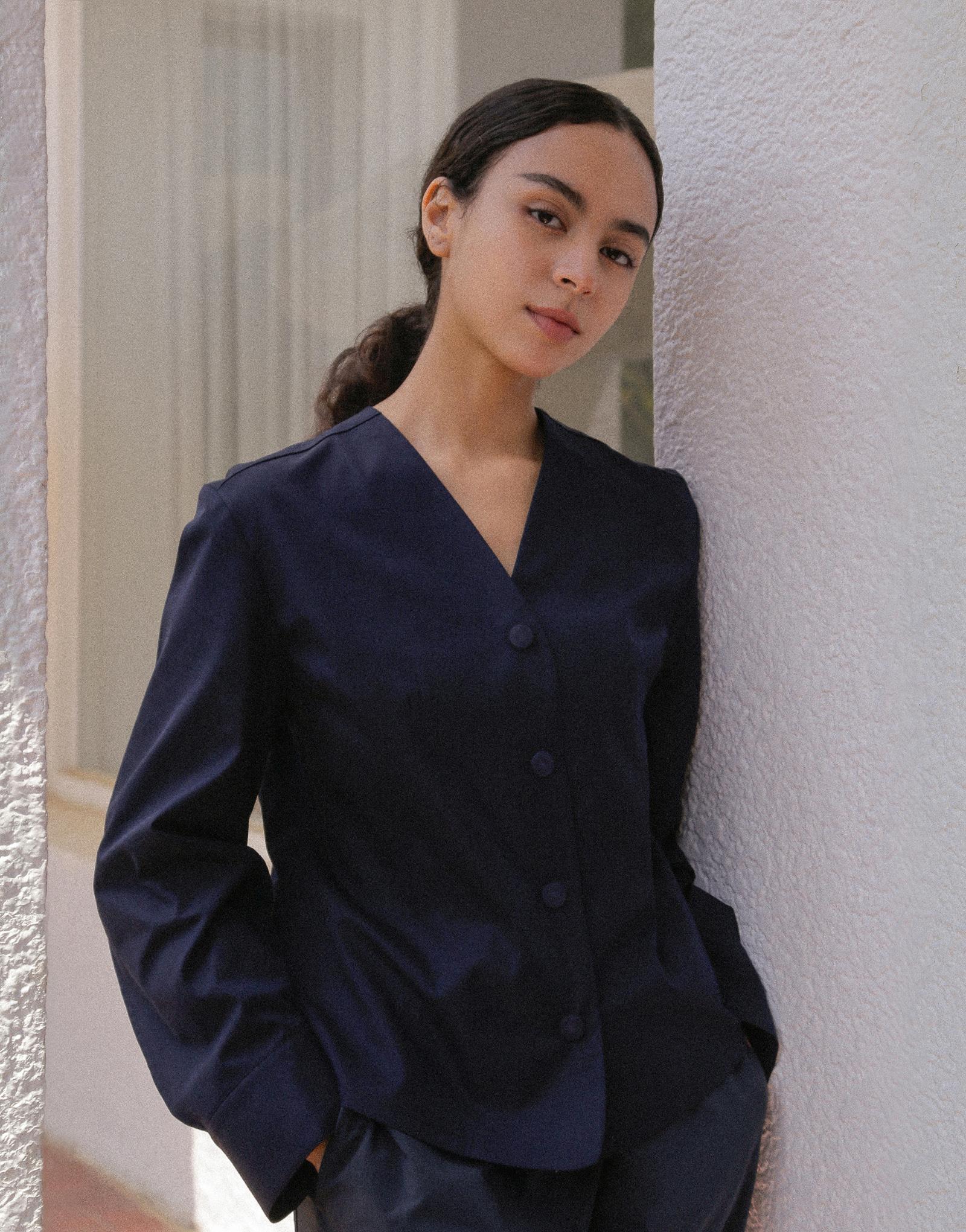 V-neck puff sleeve woman chef coat #AJ1982 Dark navy