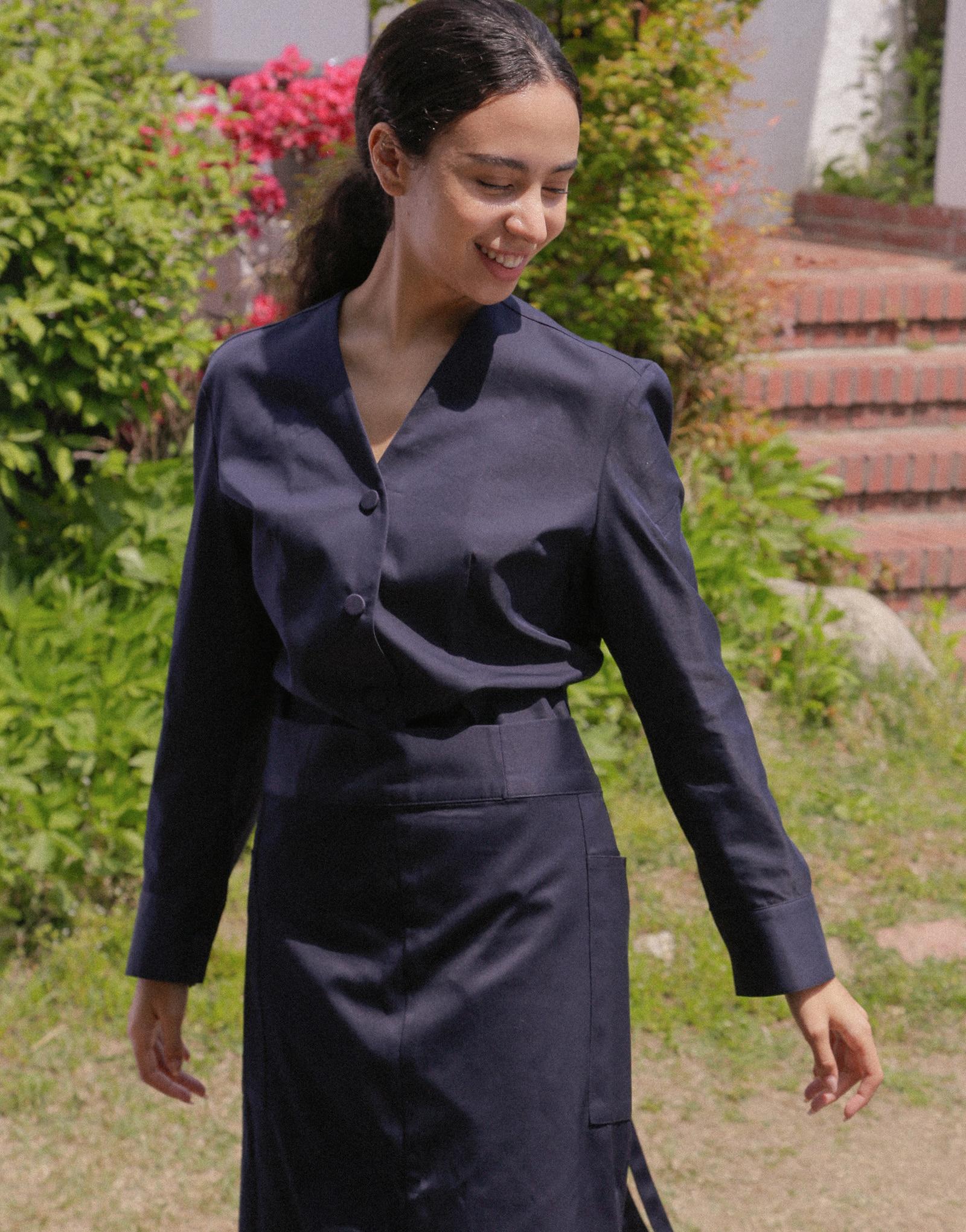 "Front slit big pocket waist apron 32"" #AA2003 Dark navy"