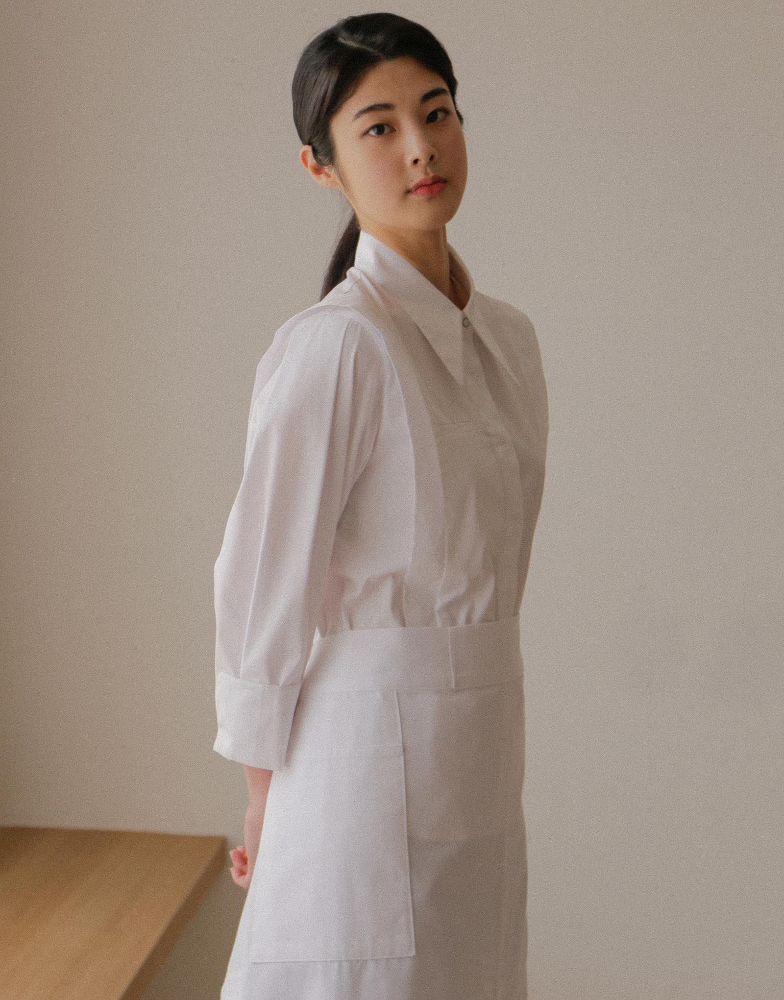"Front slit big pocket waist apron 32"" #AA2003 White"